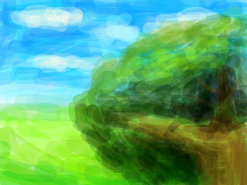 나무 : 들판의 나무 스케치판 ,sketchpan