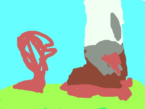 밝은 죽음 : 배경은 밝은데 생물이 처참히 밟혀 죽는 그림이다. 스케치판 ,sketchpan