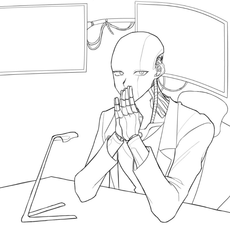 머머리안드.. : 머머리안드로이드 커미션?중 스케치판 ,sketchpan