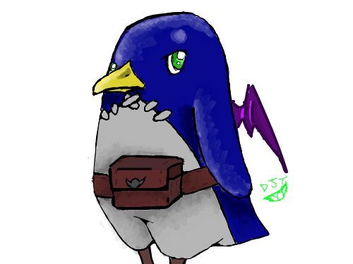Green Eyed Prinny : I wanted to make a green eyed prinny for no reason.Hope you like it, Doods! 스케치판 ,sketchpan