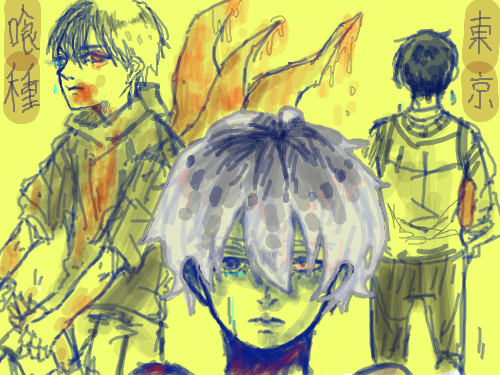 KanekiとSasaki : This is again, fanart for Tokyo Ghouls by the amazing Ishida Sui. Very excited with the sequel-!! XD