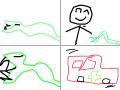 뱀의물린 불쌍한 사람 : 어떤사람이뱀을보고 만지려다가 물려서피가남 그래서 구급차의실려감 스케치판 ,sketchpan