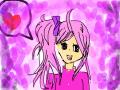 여자아이 : 여자아이가 분홍색 머리를 기르고있다. 스케치판 ,sketchpan