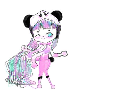 팬더소녀 : 오늘은팬더소녀를그려 봤습니다 스케치판 ,sketchpan