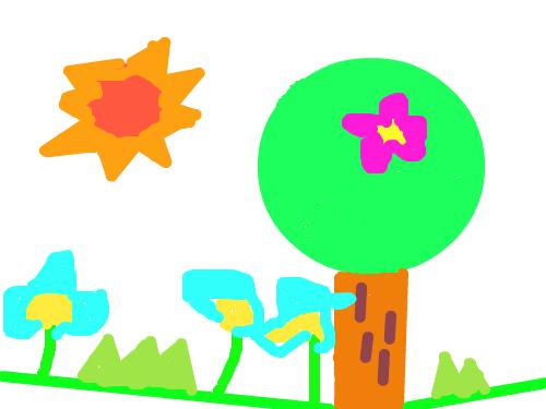 나무 : 나무애 꽃이 떨어질려고 한다 으아악 머리애 떨어졌어 스케치판 ,sketchpan