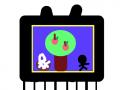 우아 사과다! : 텔레비전에 맛있는 사과를 따는 농부가 나온다. 맛난 꿀사과~ 스케치판 ,sketchpan