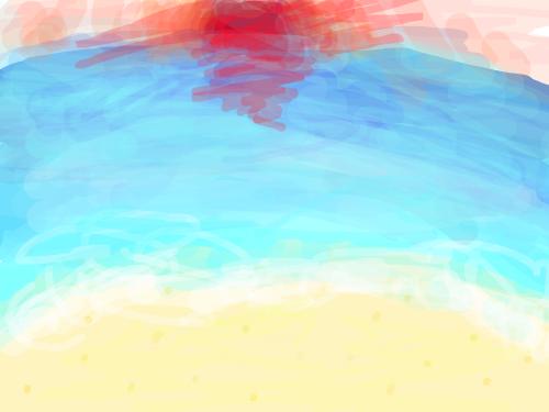 2019일출해돋이 : 1월 1일에 바다에서 2019년 첫 해가 뜨는 모습을 그렸습니다 스케치판 ,sketchpan