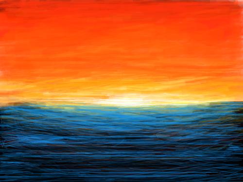 노을바다[기현성] : 노을이 지는 바다 스케치판 ,sketchpan