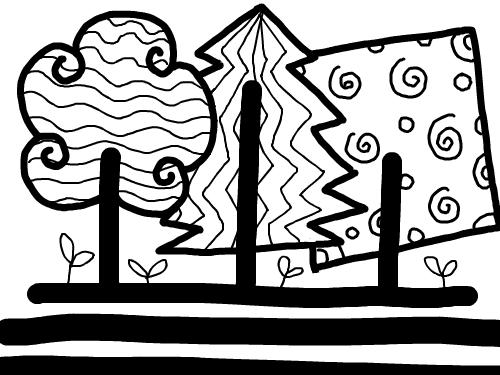 01B-01,02 : 직선과곡선을 응용해서 표현해 보아요~ 나무가 되었네? 스케치판 ,sketchpan