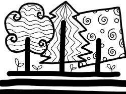 01B-01,02 : 직선과곡선을 응용해서 표현해 보아요~ 나무가 되었네? , 스케치판,sketchpan,하푸미야