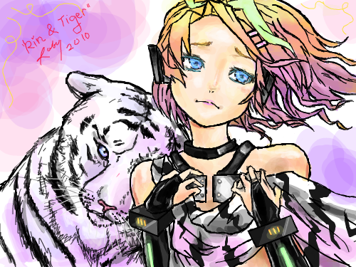 RIN and TIGER : 5 gold. dont kill tigers! love the tigers! ^__^ 스케치판 ,sketchpan