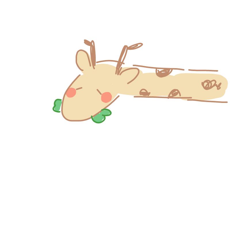 목이 너무 .. : 목이 너무 길어서 몸이 가려져버린 풀 씹는 기린 스케치판 ,sketchpan