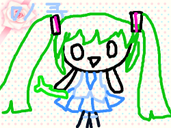 미니 하츠네 미쿠 : 매일 초록색은 좀 그러니까 하츠네 미쿠를 파랑색으로 했어요(옷만..) , 스케치판,sketchpan,플레이스케치