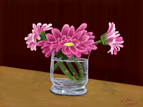 glass with pink flowers : Almost done now 스케치판 ,sketchpan
