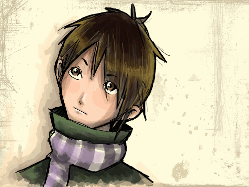 Something : I was drawing grass and then I remembered that he had a scarf on > 스케치판 ,sketchpan