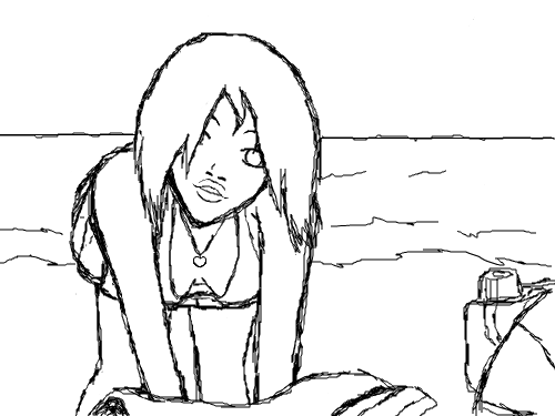 Beach Girl : she hot lol. 스케치판 ,sketchpan