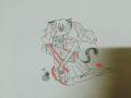 붉은 실+십.. : 붉은 실+십자가 스케치판 ,sketchpan