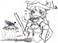 마녀고양이.. : 마녀고양이 의인화. 스케치판,sketchpan