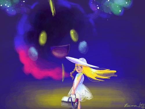Neblillia : A drawing of Nebbie and Lillie from Pokemon Sun and Moon! 스케치판 ,sketchpan