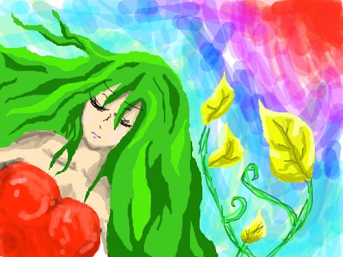 떠지지 않는 눈 : 붉은드레스의 여자 봄 분위기를 내서 초록머리를 했으나이건 좀 아닌듯, 여자여 지못미 스케치판 ,sketchpan