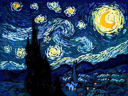 별이 빛나는 밤 : 내가 제일 좋아하는 그림 스케치판 ,sketchpan