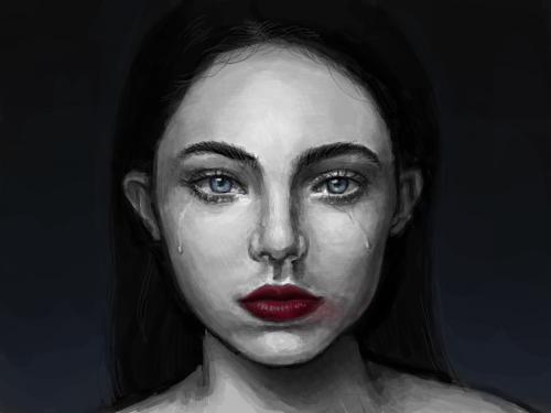 또르륵 : 눈물 블루 립스틱 스케치판 ,sketchpan