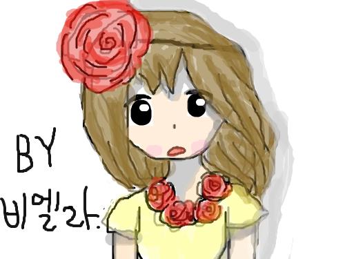 장미소녀 : 첫작입니다.. 스케치판 ,sketchpan
