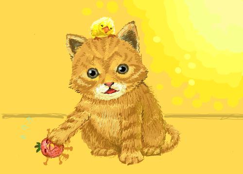 고양이 : 고양이와병아리 스케치판 ,sketchpan