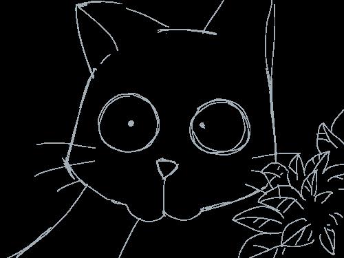 고양이의 호기심 : 토끼를 공격하려는 고양이... 스케치판 ,sketchpan