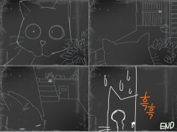 고양이의 호기심 : 토끼를 공격하려는 고양이... , 스케치판,sketchpan,스케치판