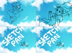 오~스케치판 : 구름을 보면서 하늘에서 떨어져 내리는 소녀 , 스케치판,sketchpan,스케치판