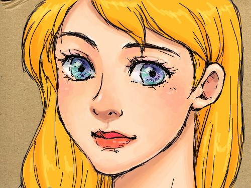 금발머리 : 금발머리의 아가씨~왠지 분위기가..옛스러운걸~ㅋㅋ 다른 식으로 채색 해 보세용 스케치판 ,sketchpan