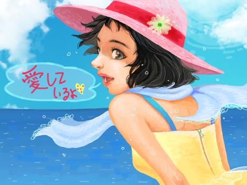 해변에서 : 해변의 아름다운 소녀 스케치판 ,sketchpan