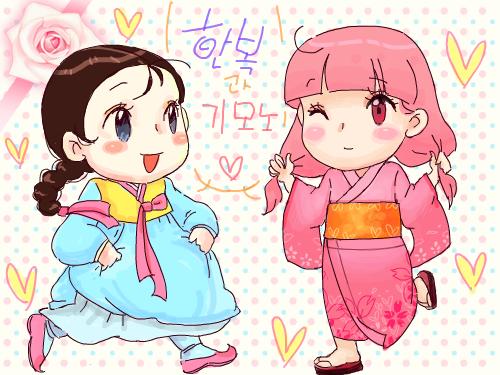 그녀들의♡ : 그녀들의 패션~한복과기모노 밑그림을 연한색으로 했더니 초반에 안보이는군요 ㅎㅎ 스케치판 ,sketchpan