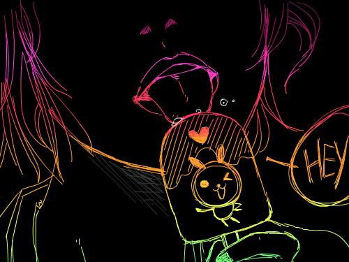 Hey : kito(rabbit character)  ice cream. 스케치판 ,sketchpan