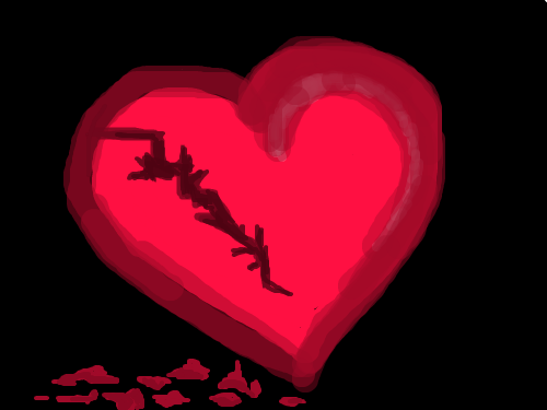 HEART DEFECT : RED HEART WITH CRACK IN IT 스케치판 ,sketchpan
