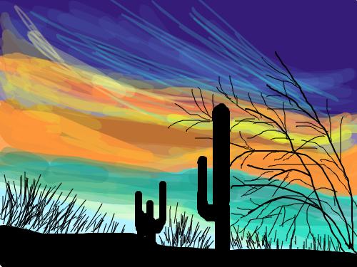 SOUTHWEST SUNSET : SUNSET IN DESERT. 스케치판 ,sketchpan