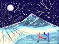 NIGHT SKATE : 2 ICE SKATERS ON FROZEN POND 스케치판 ,sketchpan