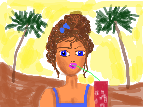 BEACH SHAKE : LADY WITH SHAKE 스케치판 ,sketchpan