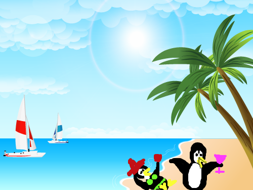 FUN IN THE SUN : PENGUINS PLAYING 스케치판 ,sketchpan