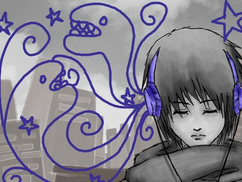 headphones : listiening 스케치판 ,sketchpan