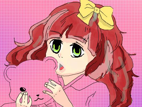 빨간머리노란리본아이 : 리본단빨간머리아이 스케치판 ,sketchpan