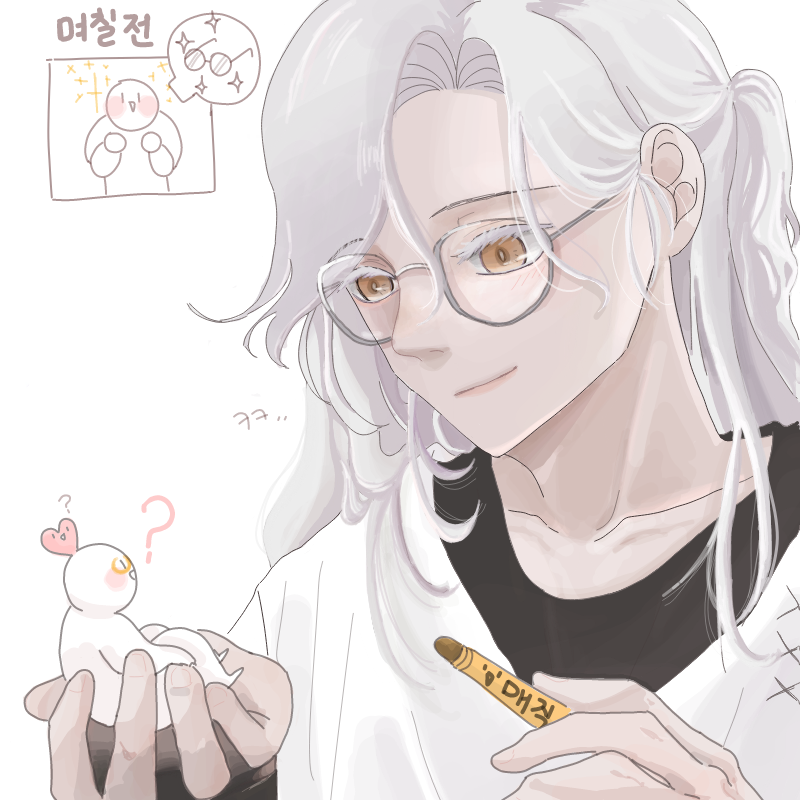 To. 쿠소타.. : To. 쿠소타쿠님  뭔가 자상한데 장꾸일 것 같은 느낌이 드는 매력적인 캐릭터를 받아 보았습니다. 다시 한번 신청 감사합니다, 덕분에 재밌게 그렸어용! ㅎㅎ 여러분 행꿈 하십셔 스케치판 ,sketchpan