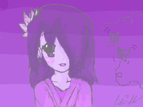 Purple Girl : I really liked the whole one color in different shades thing, and wanted to try it out with my second favorite color, purple. I drew this out of bordom and took me merely and hour. Enjoy and comment in ENGLISH, plz. Or images. I can understand those. =3 스케치판 ,sketchpan