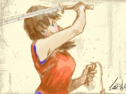 REDO!! 3 : ...i thought she needed some color... and weapons... , 스케치판,sketchpan,ZeroYuki