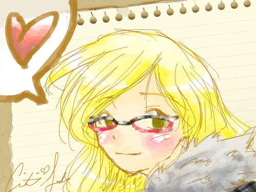 Self Portrait : Although I can't really say its a self portrait cuz i'm not nearly that cute, it still resembles me. I have a jacket exactly like that, those are my glasses, my unruley, blond hair, and my brown-green eyes. 스케치판 ,sketchpan