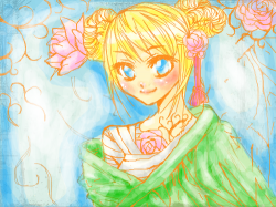Floral : I didn't draw her, just color. I still think she looks cute!! , 스케치판,sketchpan,ZeroYuki