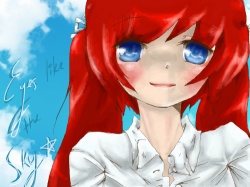 Eyes like the sky : Her eyes are the color of the sky.Beautiful. , 스케치판,sketchpan,ZeroYuki
