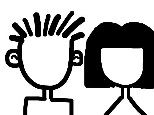 얼굴을 그려보세요 : 남과여를 표현해 보세요 스케치판 ,sketchpan