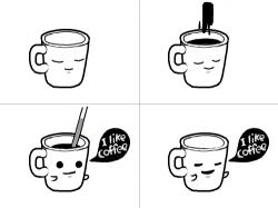 커피타임 : 커피 한 잔씩들 들고 일하자구~ 화이팅^^  , 스케치판,sketchpan,뿡뿡이